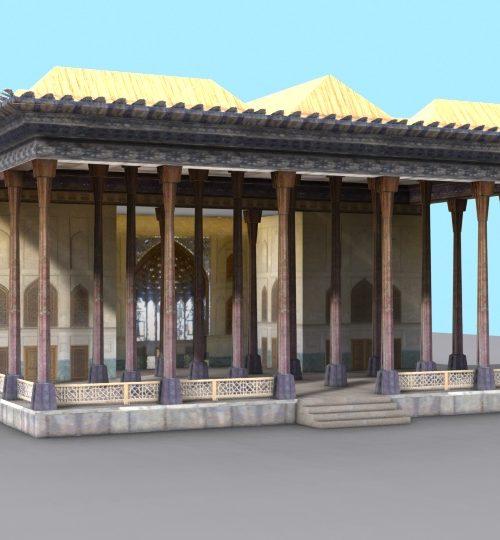 مدل سه بعدی عمارت چهل ستون اصفهان همراه با تکسچر